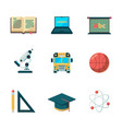 back to school flat icon education learning vector image vector image