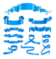 blue ribbon banners silky shiny 3d design vector image