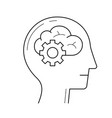 brain with gears line icon vector image
