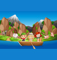 camping children paddle wooden boat vector image