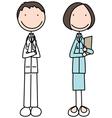 Cartoon of doctor and nurse vector image