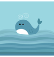Cartoon whale in the ocean with blue waves Kids vector image
