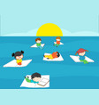 children reading books in the blue sea on summer vector image vector image