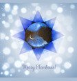 christmas card with stars and crescent moon on vector image