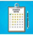 clipboard with five stars feedback rating vector image