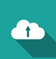cloud upload icon isolated with long shadow flat vector image vector image