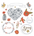 Colorful collection of romantic graphic elements vector image