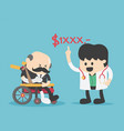 concept cartoon elderly with no money to pay vector image vector image