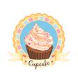 cupcake emblem vector image vector image