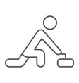 curling game thin line icon sport and winter vector image vector image