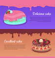 delicious cake excellent cake strawberry pie vector image vector image