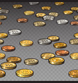 different coins isolated on transparent background vector image vector image