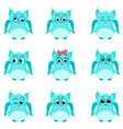 emotions of blue owls vector image