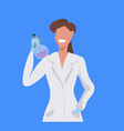female scientist holding test tube woman vector image vector image