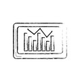 figure computer with statistics diagram bar vector image vector image