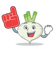 foam finger turnip mascot cartoon style vector image