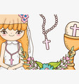 girl communion with host wafer and chalice vector image
