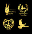 gold peace day logos set vector image vector image