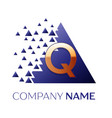 golden letter q logo symbol in blue pixel triangle vector image vector image