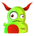 green monster with red horns on white background vector image vector image