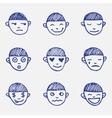 hand drawn doodle emoticons set Boys head emotions vector image