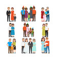 happy moments in human life collection on white vector image
