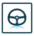 icon of steering wheel on gray background round vector image