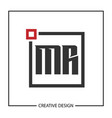 initial letter mr logo template design vector image