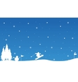 Landscape snowman and people skiing vector image vector image