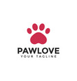 love cat or dog paw print pet logo design vector image vector image
