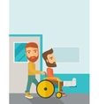 Man pushing the wheelchair with broken leg patient vector image