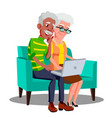 multi ethnic couple sitting on the couch with cup vector image vector image