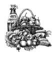 organic food design basket vector image vector image
