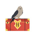 owl sitting on a trunk cute animal design vector image