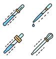 pipette icon set line color vector image vector image