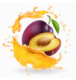 plum juice splash realistic fresh fruit vector image vector image