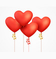 realistic 3d red balloons heart with ribbon vector image