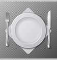 realistic plate cutlery table setting vector image vector image
