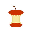 red apple core isolated rest of fruit on white vector image