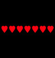 red heart icon set line border pattern love sign vector image