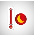 red thermometer icon moon weather meteorology vector image vector image