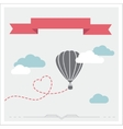 Retro card with aerostat flying in the clouds vector image vector image