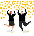 rich business couple money rain for happy office vector image