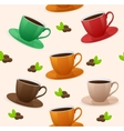 Seamless pattern coffee cups vector image vector image