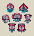 set of colorful emblems logos stickers sword vector image vector image