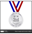 Silver medal with tricolor ribbon vector image