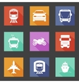 Simple flat transport icons set with long shadows vector image vector image