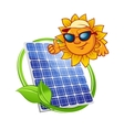 Solar panel with cartoon sun vector image vector image