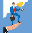 successful businessman on hand vector image