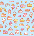 super cute desserts pattern vector image